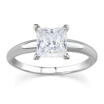 1 Carat Princess Diamond Solitaire Ring in 14K White Gold