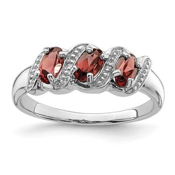Sterling Silver Natural Garnet 3 Stone & Diamond Ring