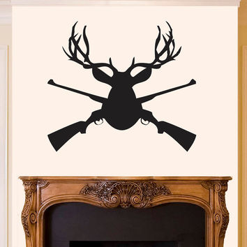 Wall Decal Vinyl Sticker Decals Art Decor Design Elk Deer Woodland Hunting Guns Horns Animal Gift for Man Bedroom Modern Fashion Style(r518)