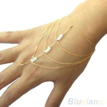 Multi Chain Tassel Bangle Finger Ring Hand Chain Harness