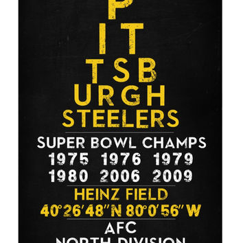 Pittsburgh Steelers - Eye Chart chalkboard print - sports, football, gift for fathers day, subway sign - Eyechart wall art
