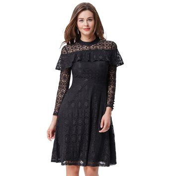 Kate Kasin Women Lace Dress Black Wine High Neck Ruffled Button Long Sleeve Vintage 50s Party Casual Work Office Dresses Vestido