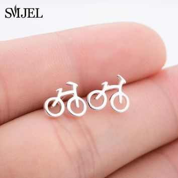 SMJEL Fashion Silver Color Cute Tiny Bike Bicycle Stud Earrings For Women Best Friend Gift Ear Biker Jewelry Accessories SYED223
