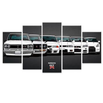 Nissan Skyline 5 Panel GT-R Sports Car Wall Art Canvas Picture Print Poster