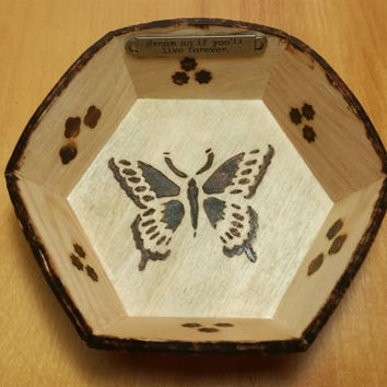 Butterfly Design Change Bowl, Jewelry Bowl - Wood, antique oil, butterfly design, wood burning - inspirational message