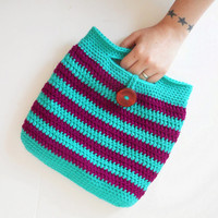 Striped Crochet Handbag in Jade and Boysenberry, ready to ship.