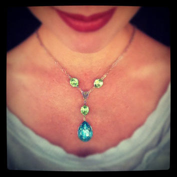 Aqua & Peridot Vintage Rhinestone Necklace, Wedding, Bride