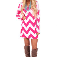 Fuchsia Chevron Print Shift Dress