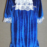 Girls Christmas dress , blue velvet dress , white lace , toddler holiday dress , special occasion , fancy dress , ready to ship , size 5