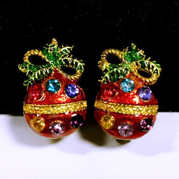Vintage Christmas Ornament Earrings, Festive Rhinestone Settings, Clip On Jewelry Signed PL, Holiday Accessories