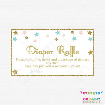 Gender Neutral Baby Shower Twinkle Twinkle Little Star, Diaper Raffle Tickets Raffle Sign and Raffle Cards, Pink Blue Gold Printable, STPBG
