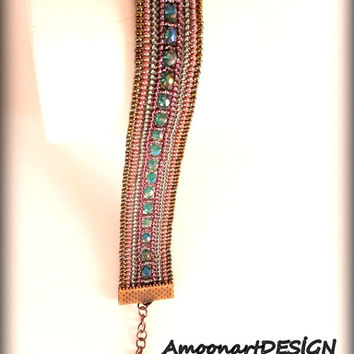 Bracelet Handmade Beaded Jewelry  Harringbone Stitched with Seed Beads and  Green Crystals (B-1)