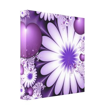 Falling in Love Abstract Flowers & Hearts Fractal Canvas Print