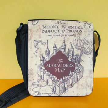 Harry Potter Bag, MESSENGER SHOULDER BAG,Mischief Managed, Marauders map bag, Harry Potter gift, gift for girlfriend, gift for her