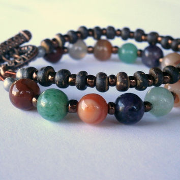 Multi Gemstone Bracelet. OOAK Eco-Friendly Jewelry. Amethyst, Aventurine, Jasper, Wood Beads. Boho Beaded Multi Strand Bracelet Copper Clasp