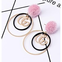 GUCCI Popular Sweet Women Cute Pink Small Ball Circular Letters Pendant Earrings Jewelry I13287-1