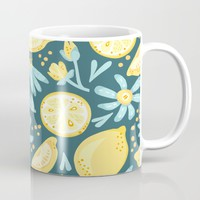 Lemon Pattern Green Mug by LaVieClaire