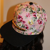 Baby Pink Studded Floral Snapback