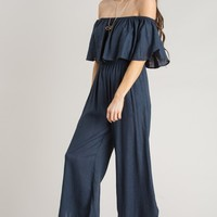 Makenna Navy Off the Shoulder Jumpsuit