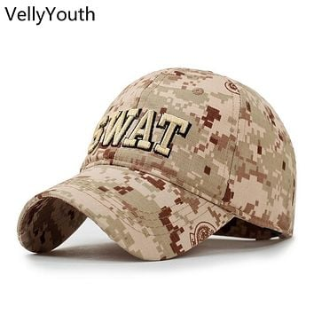 VellyYouth Baseball Caps New Fashion Letter SWAT Embroidery Camo Sport Hat Outdoor Baseball Cap Men Women Cap Golf Cap