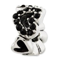Genuine Reflection Beads (TM) Bead Charm. Sterling Silver Reflections Black Swarovski Elements Hearts Bead. 100% Satisfaction Guaranteed.