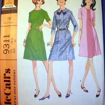 Vintage 60's Retro Dress with 3 Variations Women's Half Size 16 1/2 McCall's 9311 Sewing Pattern Uncut
