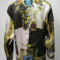 Baroque style Greece,Greek Silk Shirt - Versace Style inspired Multicolored & Gold,100% Metallic Silk