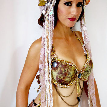 Flower headpiece, Pearl Headdress, Tribal Fusion Headdress, Dance headdress,  Belly dance Hair Accessories, Tribal Headbands, fancy band