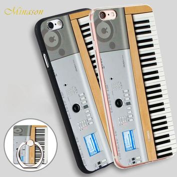Minason Keyboard Digital Piano Mobile Phone Shell Soft TPU Silicone Case Cover for iPhone X 8 5 SE 5S 6 6S 7 Plus