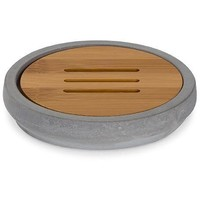 MV Cement With Bamboo Wood Soap Dish Holder Tray Soap Holder With Drain