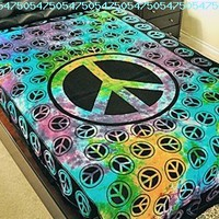 """Hippie/Indian Tapestry/Wall/Bedspread/Tablecloth Peace Sign 72"""" x 108""""TP42TD:Amazon:Everything Else"""