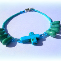 Turquoise Sideway Cross Bracelet, Direct Checkout,Chakra anklet, Ready to ship~