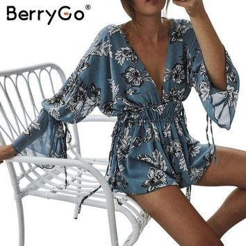 Berrygo Boho Print Chiffon Flare Sleeve Jumpsuit Romper Women Sexy Deep V Neck Backless Playsuit Summer Beach Casual Overalls