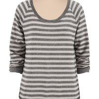 Long Sleeve Striped Burnwash Pullover