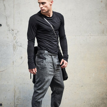 Mens Stylish T-shirt, Minimalist Black Shirt, Black Urban Top, Long Sleeved Blouse, Futuristic Clothing By Powha
