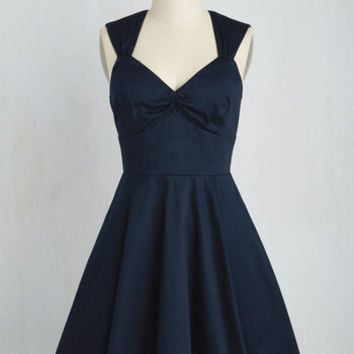 Flare Maiden Dress in Navy | Mod Retro Vintage Dresses | ModCloth.com