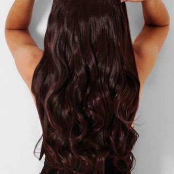 Black Cherry Curly Instant Clip In Hair Extensions | Pink Boutique