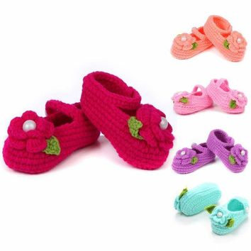 Handmade Flower Crochet Knitted Baby  Shoes