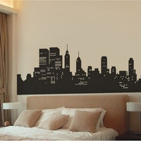 Medium Cartoon New York Wall Decal Sticker (Black)