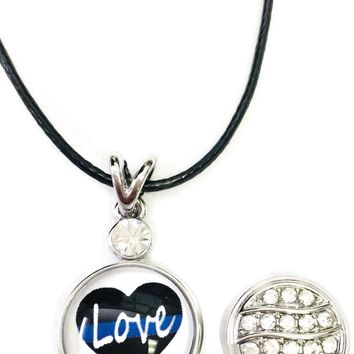 "Love Heart Officer Thin Blue Line Snap on 18"" Leather Rope Diamond Pendant Necklace W/ Extra 18MM - 20MM Snap Charm"