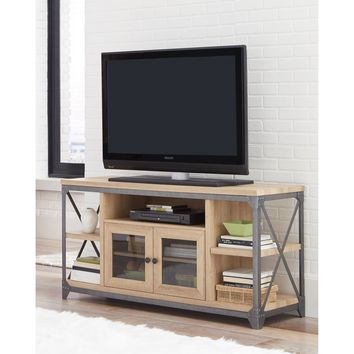 Wood and Metal TV Stand With 5 Shelves, Oak Brown and Gray