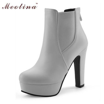 Meotina Women Boots Shoes Women High Heels Ankle Boots Winter Boots Zipper Ladies Shoe