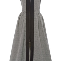 Stripe Jacquard Zip Up Long Halterneck Dress