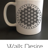 Flower Of Life,  Sacred Geometry, Mug, Different Inside Color Selection, 11 Oz. T00027