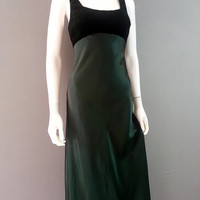 Dark Green Satin and Velvet Formal Dress Tank Strap Lace Up Back Side Zip 1990s Floor Length Prom Dress Evening Gown XS-S Womens Formal