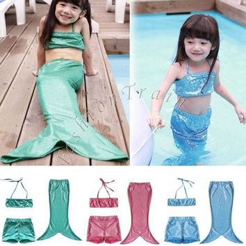 DCCKIX3 3pcs/suit Girls Kids Mermaid Tail Swimmable Bikini Set Swimwear Swimsuit Swimming Costume = 1946447364