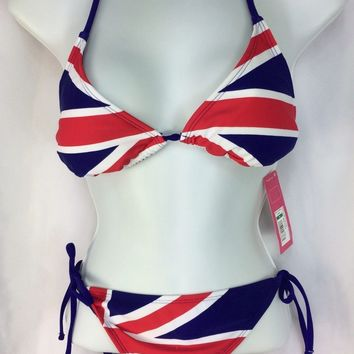 Swimsuit Bikini M Red White Blue Britain Ties at Neck Back Hips NEW Xhilaration