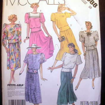 Women's Pullover Top, Skirt and Bow Tie Misses' Size 10 Vintage McCall's 2988 Sewing Pattern Uncut