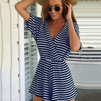 Blue and White Striped V-neck Short Sleeve Pleated Romper