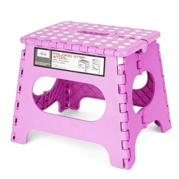 HOUSE DAY 9 Inches Pink Folding Step Stool with Anti-Slip Surface for Kids and Adults with Handle, Holds up to 250 LBS (Pink) - Walmart.com